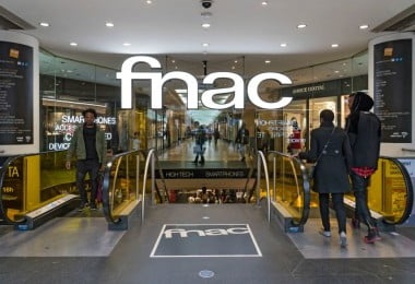 PARIS, FRANCE - APRIL 6, 2015: Fnac shop on Champs Elysees. Fnac is a large French retail chain selling cultural and electronic products, founded by Andre Essel and Max Theret in 1954.
