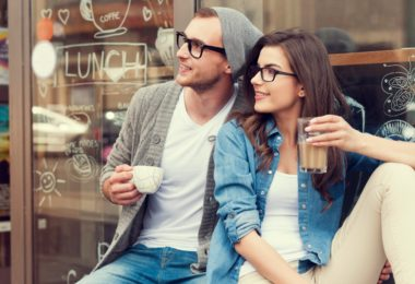 Portrait of stylish couple at outside of cafe
