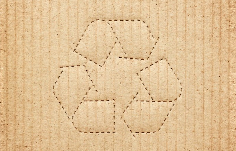 cardboard box background with recycle symbol picture id