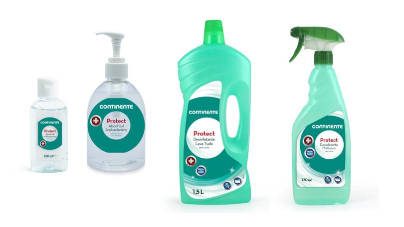 Continente lança gama de álcool gel e desinfetantes de marca própria