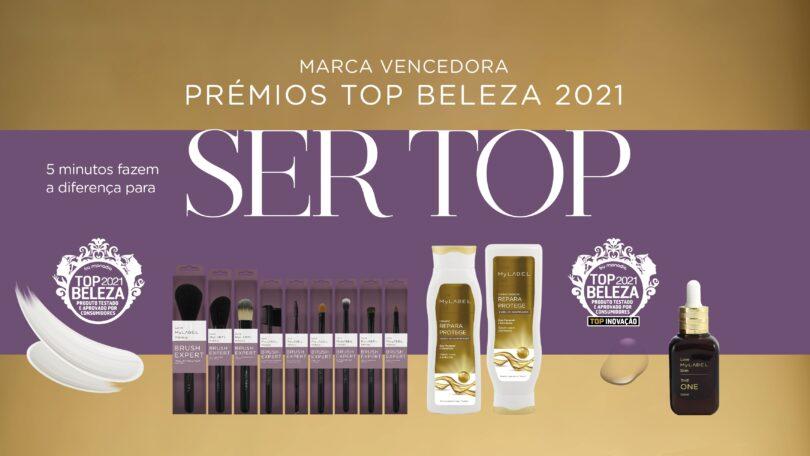 O Champô e Condicionador Repara e Protege, o Sérum The One e nove pincéis de maquilhagem da MyLABEL ganharam Prémio Top Beleza 2021.